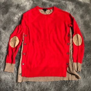 Red and tan j crew sweater
